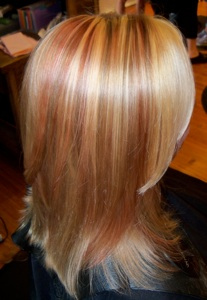 Photos of real hair behind my chair with a brief description of my beautiful bold golden blond highlights with splashes of a coral red lowlights pmusecretfo Image collections