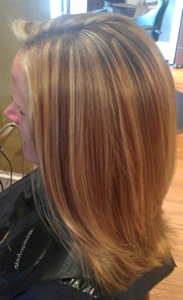 Photos of real hair behind my chair with a brief description of my bold blond warm lowlights for contrast she has very fine hair sightly angled bob looks great on her pmusecretfo Choice Image